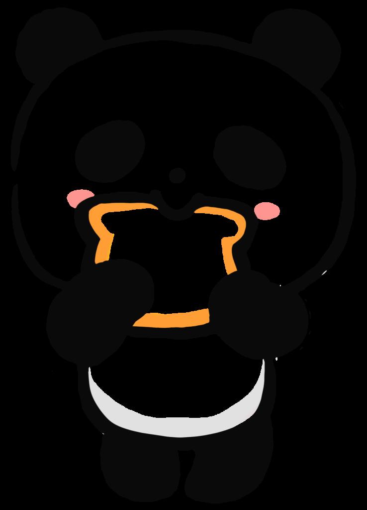 トーストを食べるパンダのイラスト
