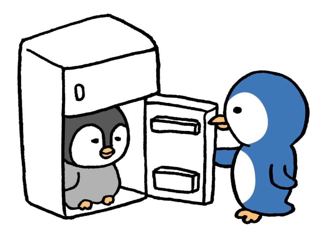 ペンギンが冷蔵庫にいるイラスト