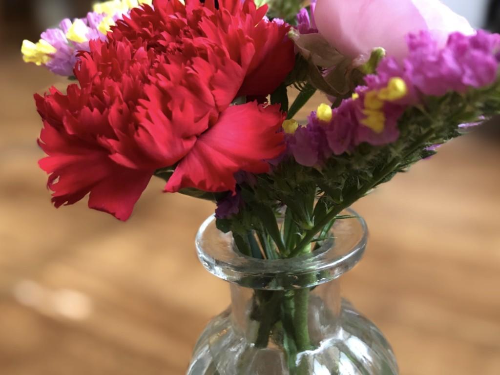 BloomeeLIFE(ブルーミーライフ)で買った花をダイソーの花瓶にいけている画像
