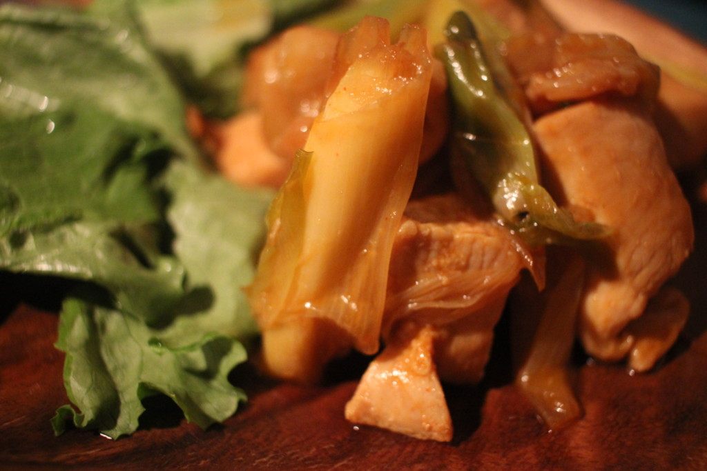 鶏胸肉の甘辛ネギ焼きの完成画像