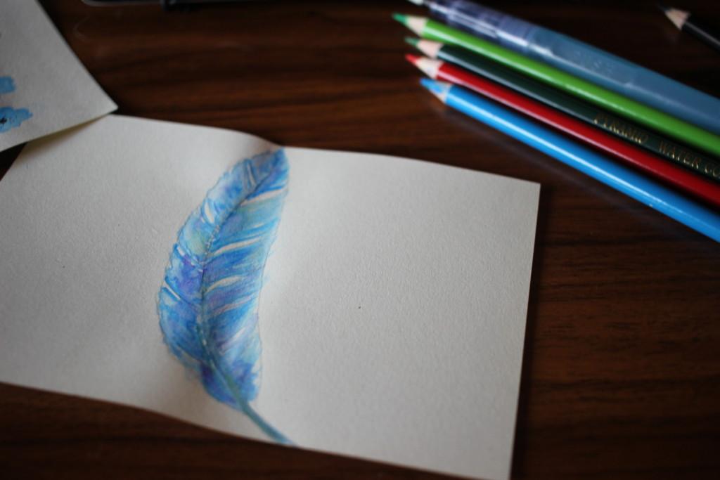 水彩画で描いた羽の画像